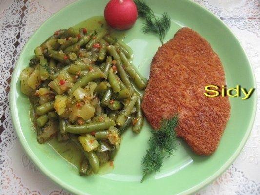 Fasole verde cu dovlecel si snitel vegetal
