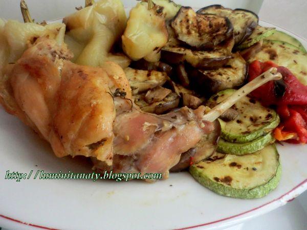Friptura de iepure la tigaie cu garnitura de legume la gratar sau cartofi la cuptor