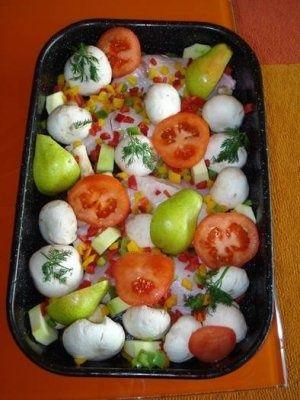 Friptura de pui cu legume si pere