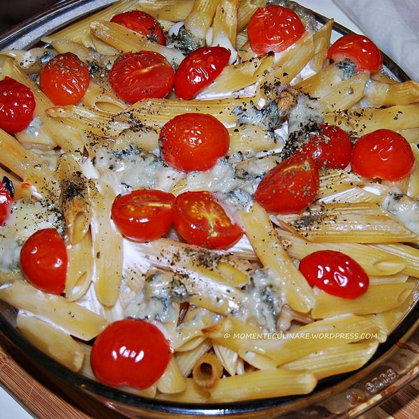 Paste cu gorgonzola si rosii cherry la cuptor