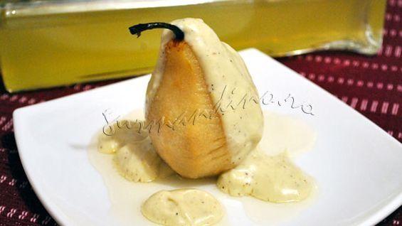 Pere cu limoncello si crema de lapte cu scortisoara