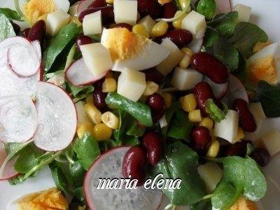Salata de padure (untisor) cu fasole, porumb, ou si ridiche
