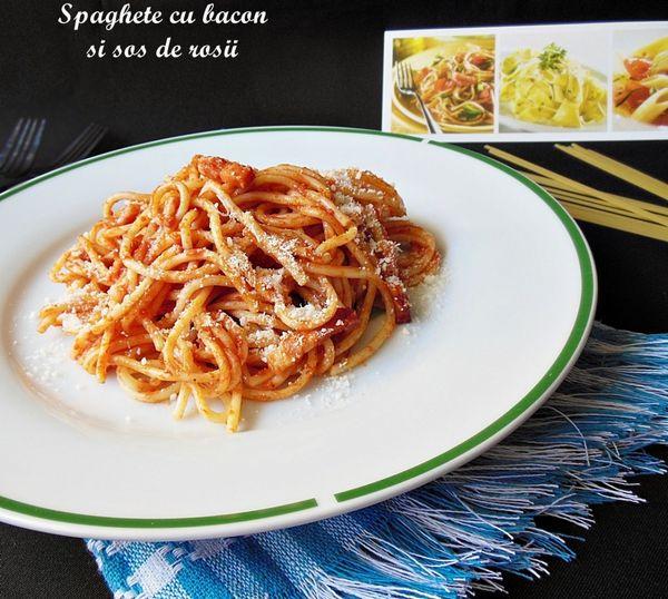 Spaghete cu bacon si sos de rosii
