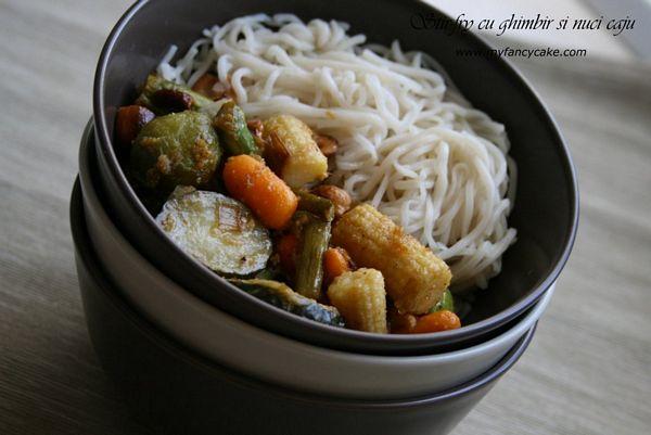 Stir-fry cu ghimbir si nuci caju