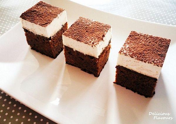 Strawberry Brownie with Vanilla Mascarpone Cream