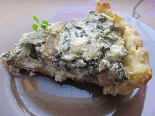 Tarta cu spanac, ciuperci si branzeturi