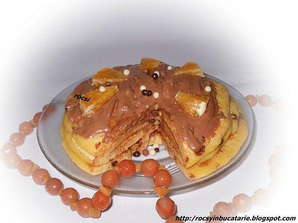 Tortulete pancakes cu bilute de ciocolata si portocale